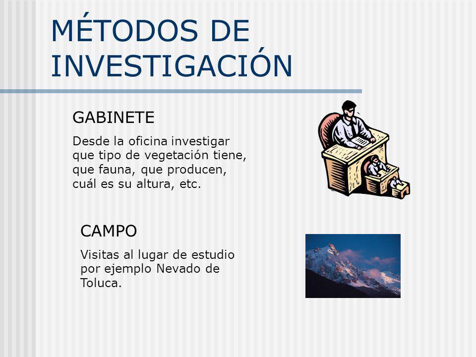 MÉTODOS DE INVESTIGACIÓN CAMPO Visitas al lugar de estudio por ejemplo Nevado de Toluca. GABINETE Desde la oficina investigar que tipo de vegetación t