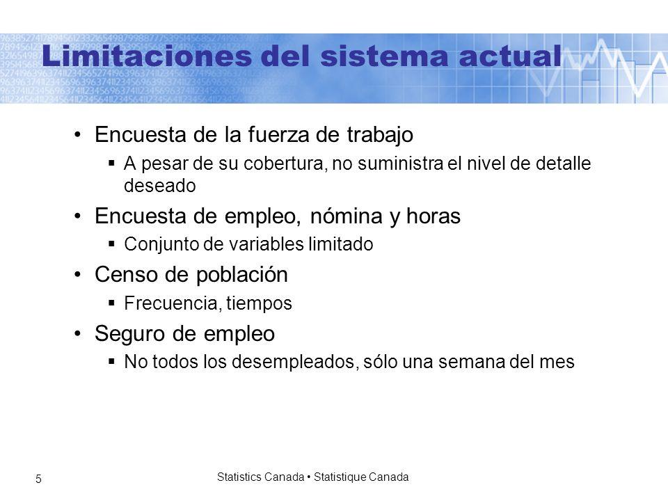 Statistics Canada Statistique Canada 6 Lagunas en el sistema actual Se conocen muchas lagunas.