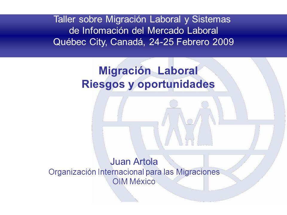 Taller sobre Migración Laboral y Sistemas de Infomación del Mercado Laboral Québec City, Canadá, 24-25 Febrero 2009 Migración Laboral Riesgos y oportunidades Juan Artola Organización Internacional para las Migraciones OIM México