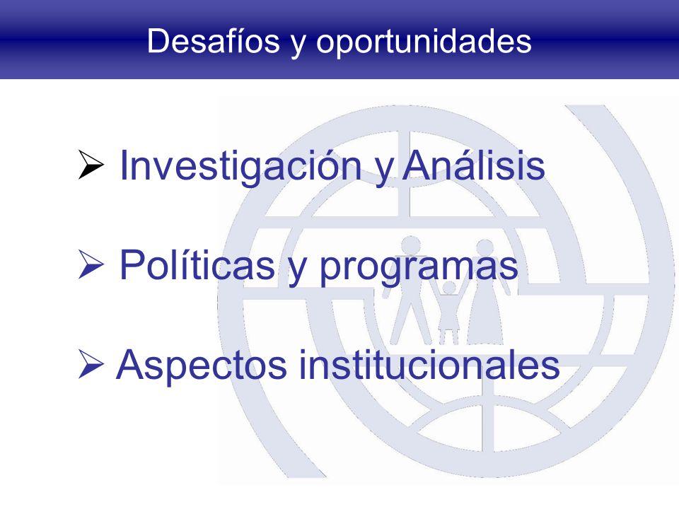 Desafíos y oportunidades Investigación y Análisis Políticas y programas Aspectos institucionales