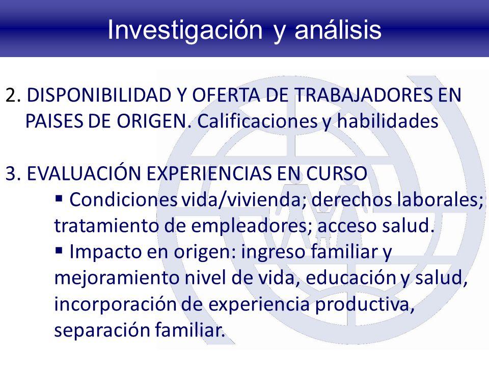 Investigación y análisis 2.DISPONIBILIDAD Y OFERTA DE TRABAJADORES EN PAISES DE ORIGEN.