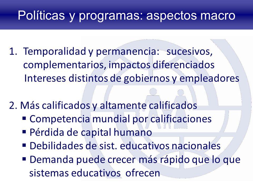 Políticas y programas: aspectos macro 1.Temporalidad y permanencia: sucesivos, complementarios, impactos diferenciados Intereses distintos de gobiernos y empleadores 2.