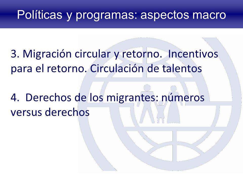 Políticas y programas: aspectos macro 3.Migración circular y retorno.