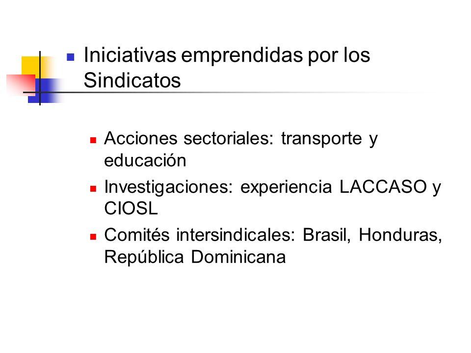Iniciativas emprendidas por los Sindicatos Acciones sectoriales: transporte y educación Investigaciones: experiencia LACCASO y CIOSL Comités intersind