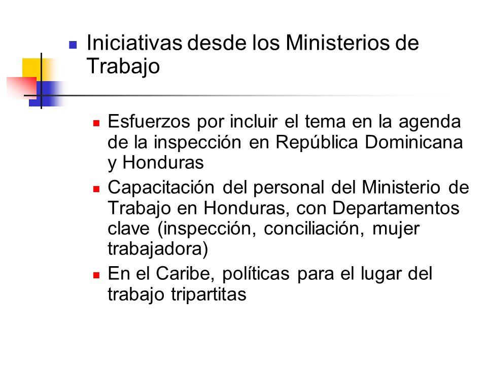 Iniciativas desde los Ministerios de Trabajo Esfuerzos por incluir el tema en la agenda de la inspección en República Dominicana y Honduras Capacitaci