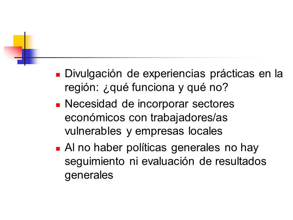 Divulgación de experiencias prácticas en la región: ¿qué funciona y qué no? Necesidad de incorporar sectores económicos con trabajadores/as vulnerable