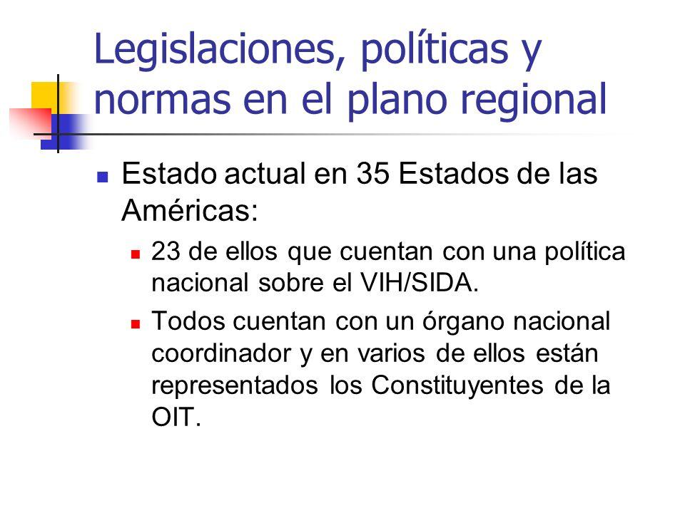 Legislaciones, políticas y normas en el plano regional Estado actual en 35 Estados de las Américas: 23 de ellos que cuentan con una política nacional