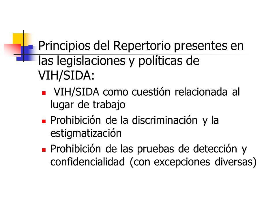Principios del Repertorio presentes en las legislaciones y políticas de VIH/SIDA: VIH/SIDA como cuestión relacionada al lugar de trabajo Prohibición d