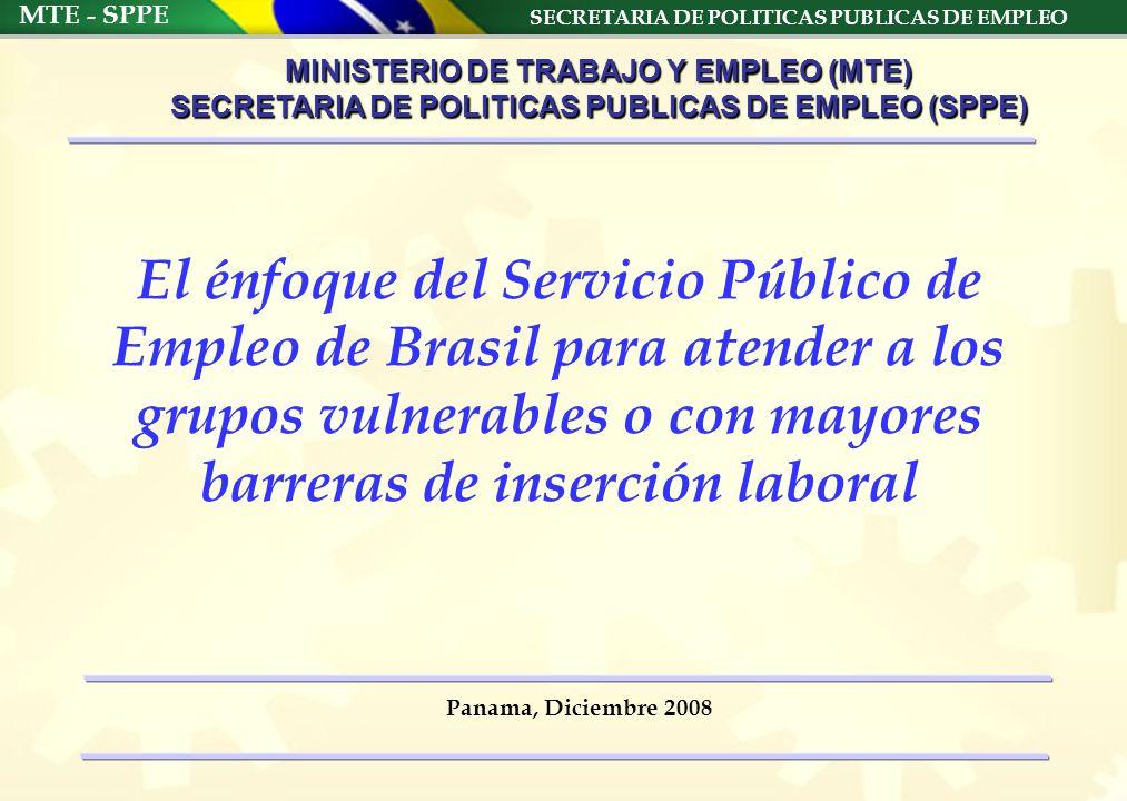 SECRETARIA DE POLITICAS PUBLICAS DE EMPLEO MTE - SPPE Panama, Diciembre 2008 MINISTERIO DE TRABAJO Y EMPLEO (MTE) SECRETARIA DE POLITICAS PUBLICAS DE EMPLEO (SPPE) El énfoque del Servicio Público de Empleo de Brasil para atender a los grupos vulnerables o con mayores barreras de inserción laboral