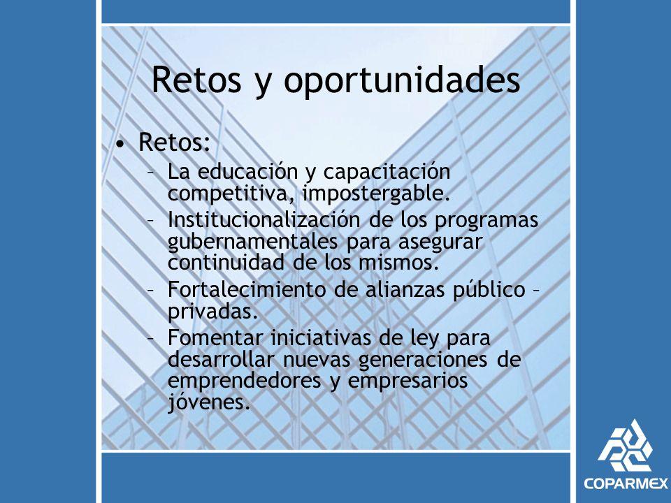 Retos y oportunidades Retos: –La educación y capacitación competitiva, impostergable.