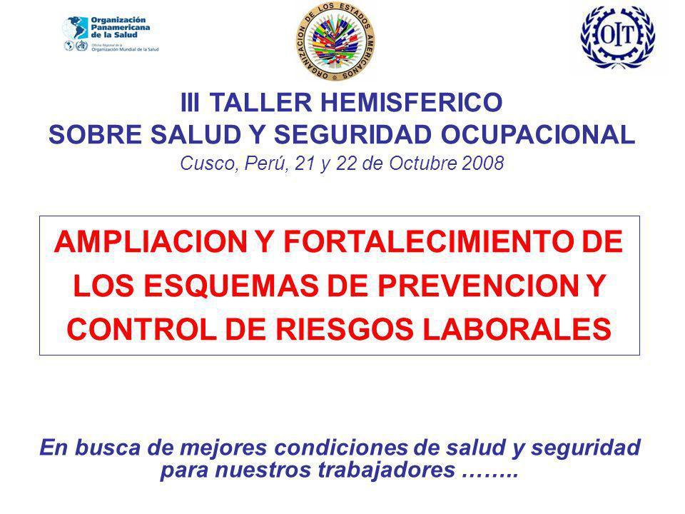 III TALLER HEMISFERICO SOBRE SALUD Y SEGURIDAD OCUPACIONAL Cusco, Perú, 21 y 22 de Octubre 2008 En busca de mejores condiciones de salud y seguridad para nuestros trabajadores ……..