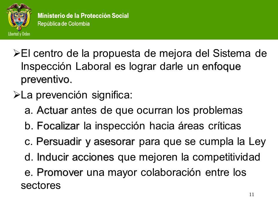 Ministerio de la Protección Social República de Colombia 11 enfoque preventivo.