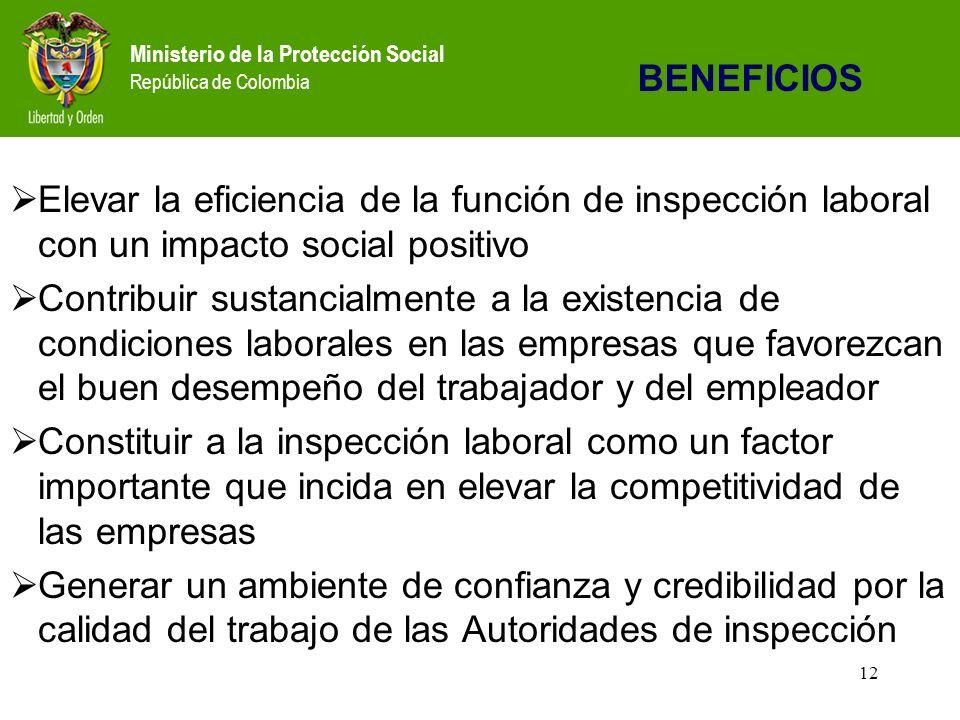 Ministerio de la Protección Social República de Colombia 12 Elevar la eficiencia de la función de inspección laboral con un impacto social positivo Contribuir sustancialmente a la existencia de condiciones laborales en las empresas que favorezcan el buen desempeño del trabajador y del empleador Constituir a la inspección laboral como un factor importante que incida en elevar la competitividad de las empresas Generar un ambiente de confianza y credibilidad por la calidad del trabajo de las Autoridades de inspección BENEFICIOS