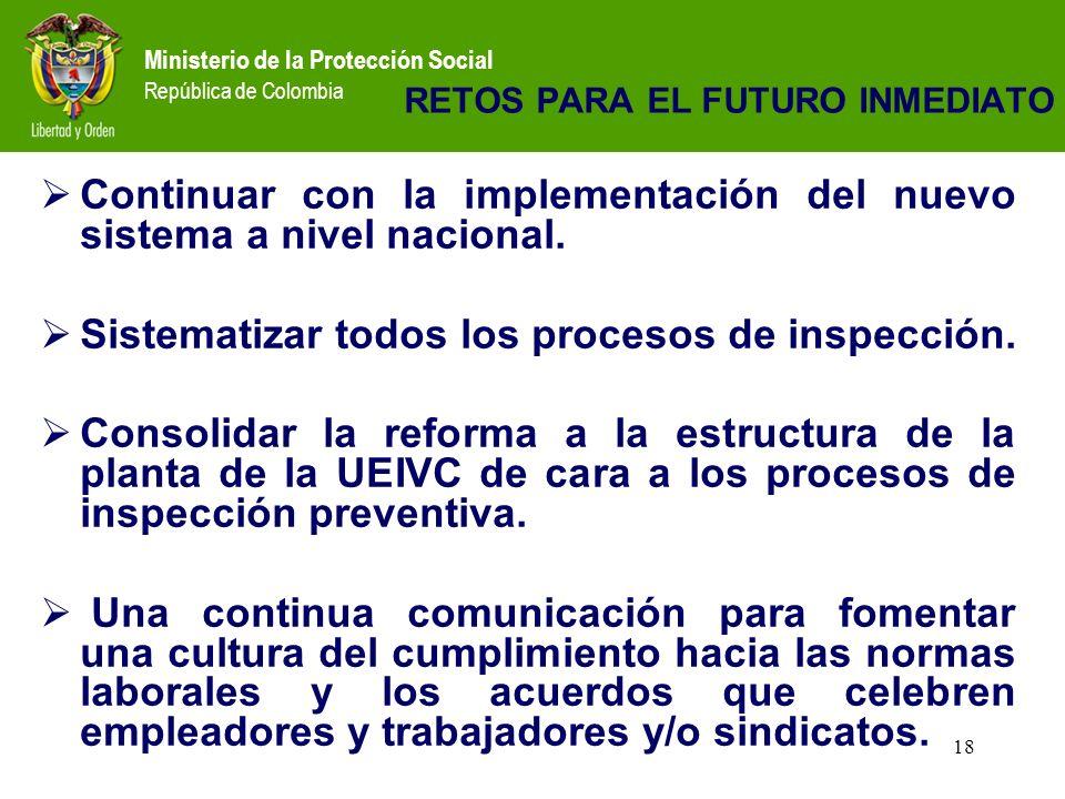 Ministerio de la Protección Social República de Colombia 18 RETOS PARA EL FUTURO INMEDIATO Continuar con la implementación del nuevo sistema a nivel nacional.