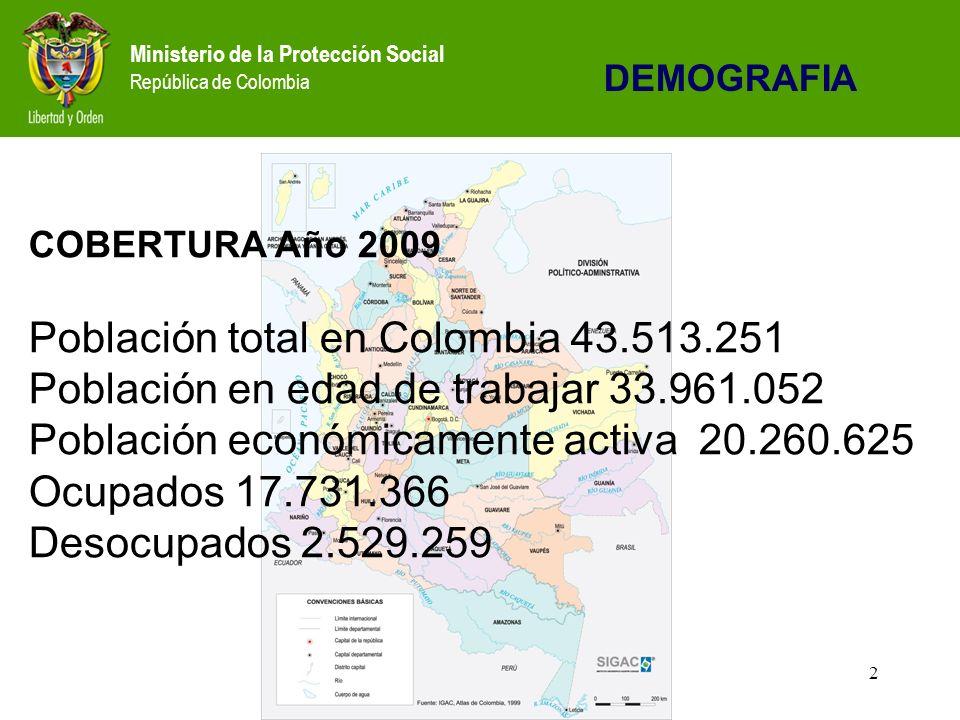 2 COBERTURA Año 2009 Población total en Colombia 43.513.251 Población en edad de trabajar 33.961.052 Población económicamente activa 20.260.625 Ocupados 17.731.366 Desocupados 2.529.259 DEMOGRAFIA