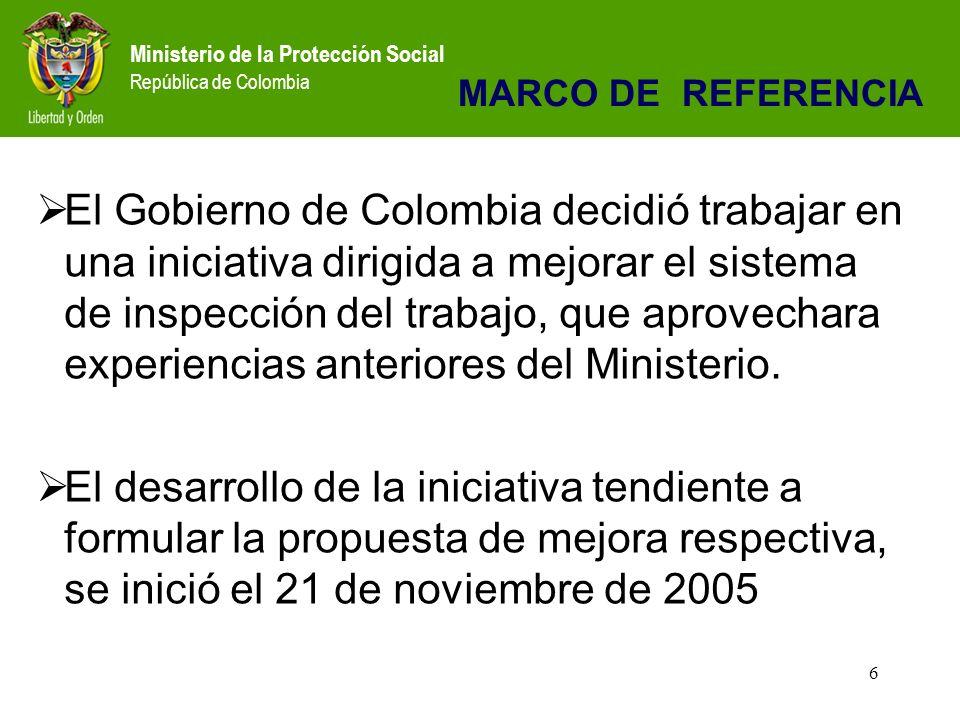 Ministerio de la Protección Social República de Colombia 6 El Gobierno de Colombia decidió trabajar en una iniciativa dirigida a mejorar el sistema de inspección del trabajo, que aprovechara experiencias anteriores del Ministerio.