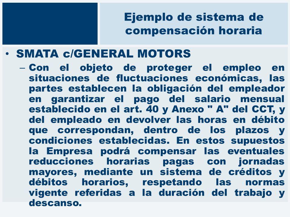 Ejemplo de sistema de compensación horaria SMATA c/GENERAL MOTORS – Con el objeto de proteger el empleo en situaciones de fluctuaciones económicas, la