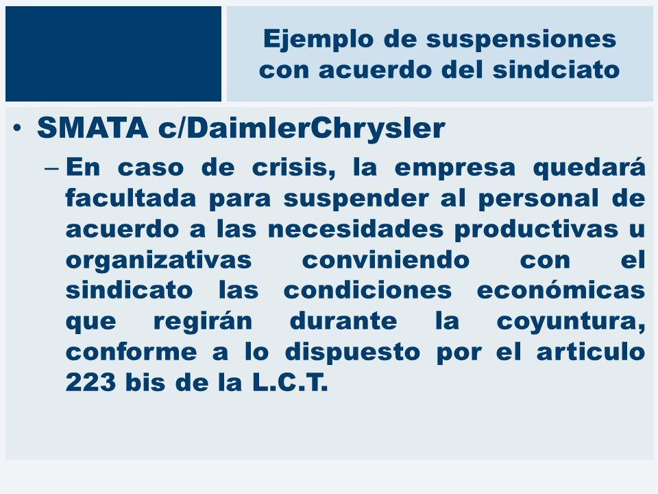 Ejemplo de suspensiones con acuerdo del sindciato SMATA c/DaimlerChrysler – En caso de crisis, la empresa quedará facultada para suspender al personal