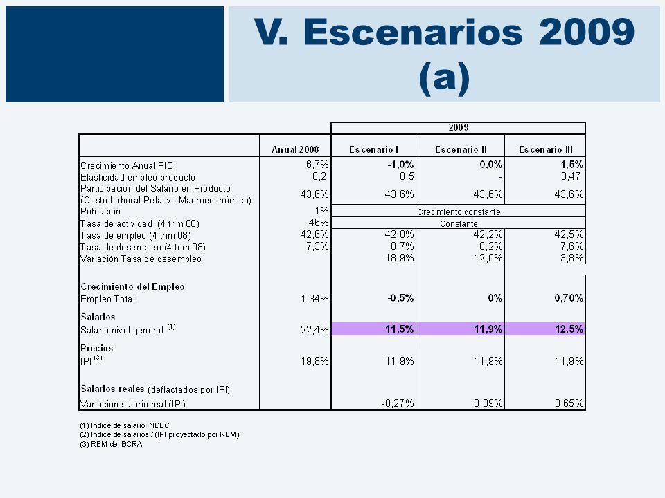 V. Escenarios 2009 (a)