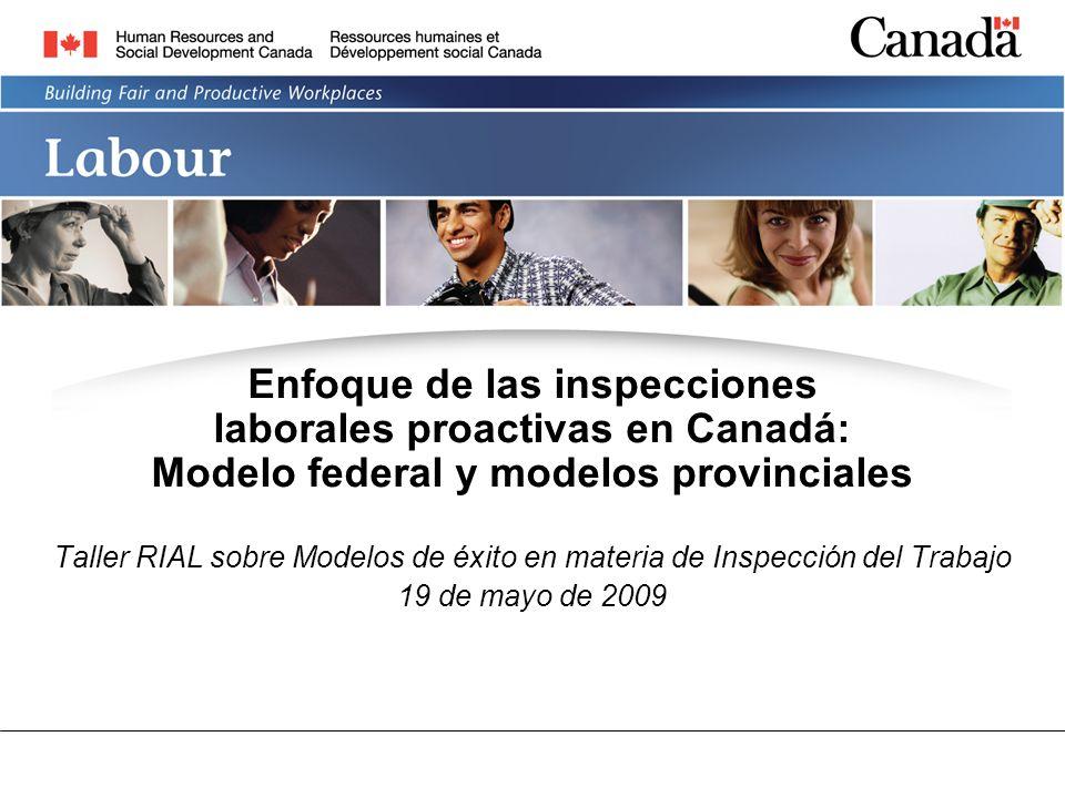 LABOUR PROGRAM Enfoque de las inspecciones laborales proactivas en Canadá: Modelo federal y modelos provinciales Taller RIAL sobre Modelos de éxito en