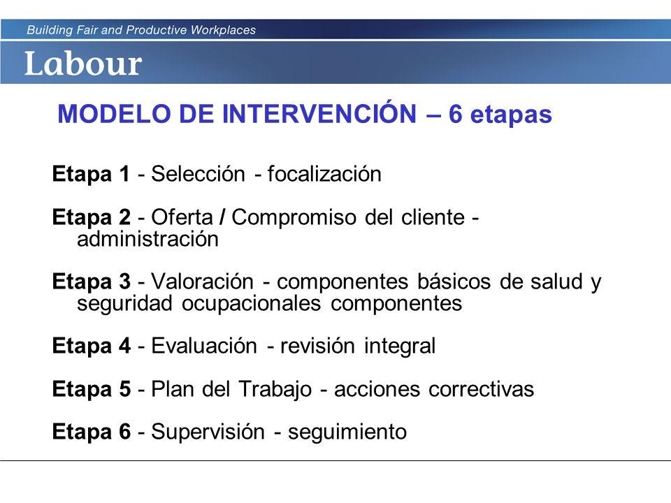 LABOUR PROGRAM MODELO DE INTERVENCIÓN – 6 etapas Etapa 1 - Selección - focalización Etapa 2 - Oferta / Compromiso del cliente - administración Etapa 3