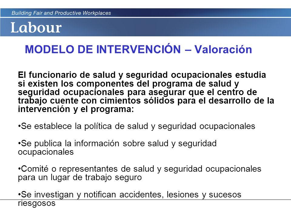 LABOUR PROGRAM MODELO DE INTERVENCIÓN – Valoración El funcionario de salud y seguridad ocupacionales estudia si existen los componentes del programa d