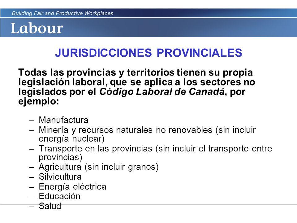 LABOUR PROGRAM JURISDICCIONES PROVINCIALES Todas las provincias y territorios tienen su propia legislación laboral, que se aplica a los sectores no le
