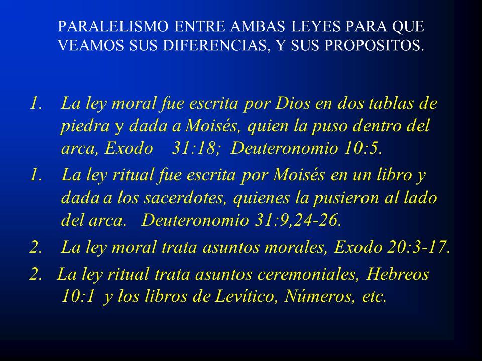1.La ley moral fue escrita por Dios en dos tablas de piedra y dada a Moisés, quien la puso dentro del arca, Exodo 31:18; Deuteronomio 10:5. 1. La ley