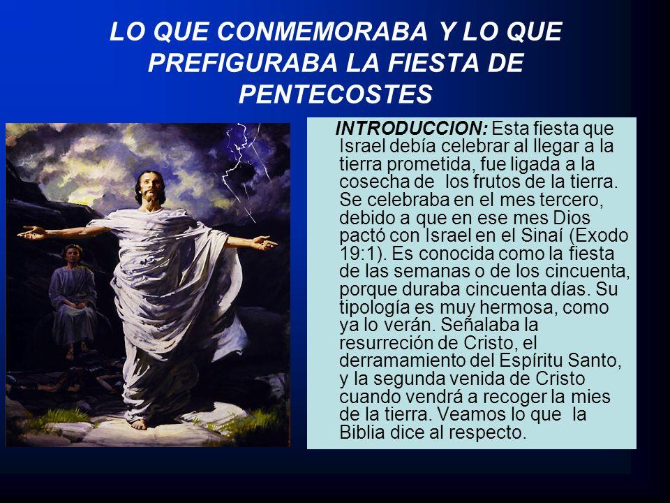 LO QUE CONMEMORABA Y LO QUE PREFIGURABA LA FIESTA DE PENTECOSTES INTRODUCCION: Esta fiesta que Israel debía celebrar al llegar a la tierra prometida,