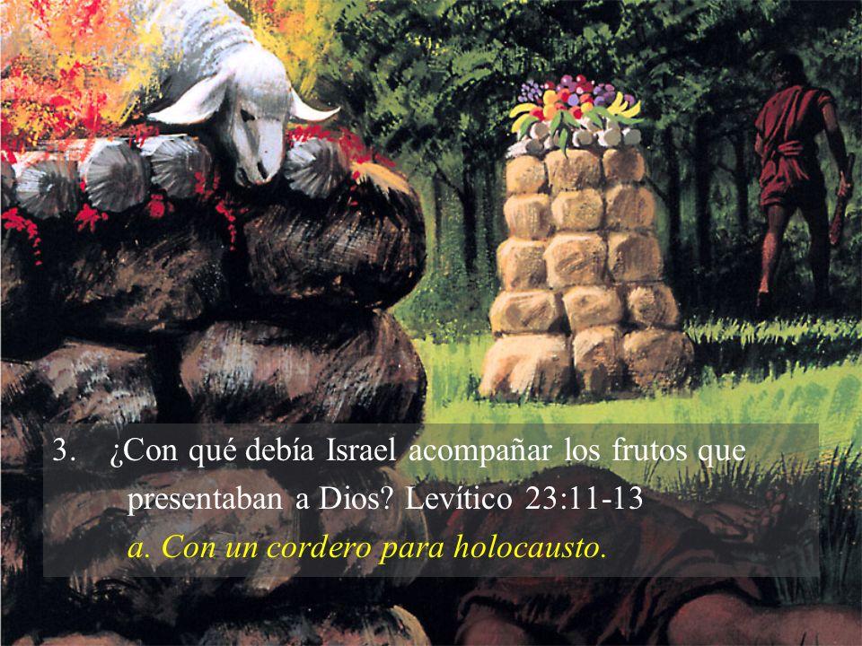 3.¿Con qué debía Israel acompañar los frutos que presentaban a Dios? Levítico 23:11-13 a. Con un cordero para holocausto.