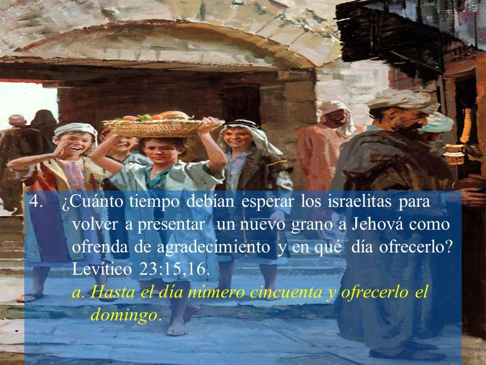 4.¿Cuánto tiempo debían esperar los israelitas para volver a presentar un nuevo grano a Jehová como ofrenda de agradecimiento y en qué día ofrecerlo?