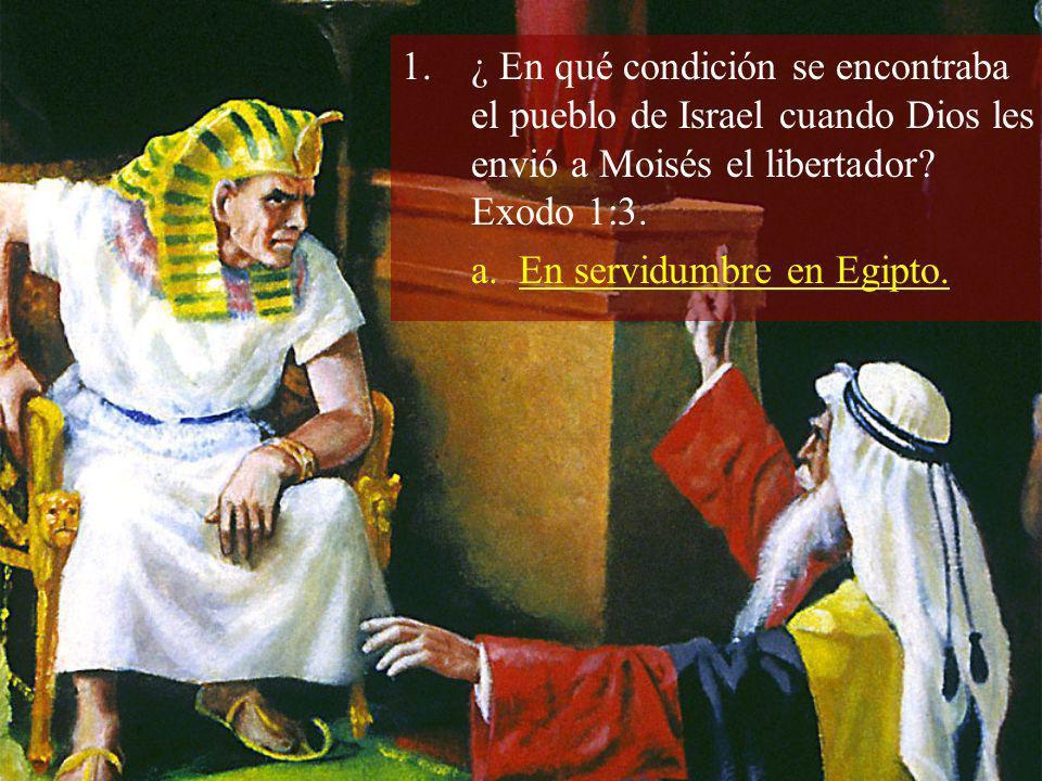 1.¿ En qué condición se encontraba el pueblo de Israel cuando Dios les envió a Moisés el libertador? Exodo 1:3. a. En servidumbre en Egipto.