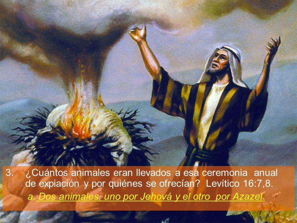 3.¿Cuántos animales eran llevados a esa ceremonia anual de expiación y por quiénes se ofrecían? Levítico 16:7,8. a. Dos animales, uno por Jehová y el