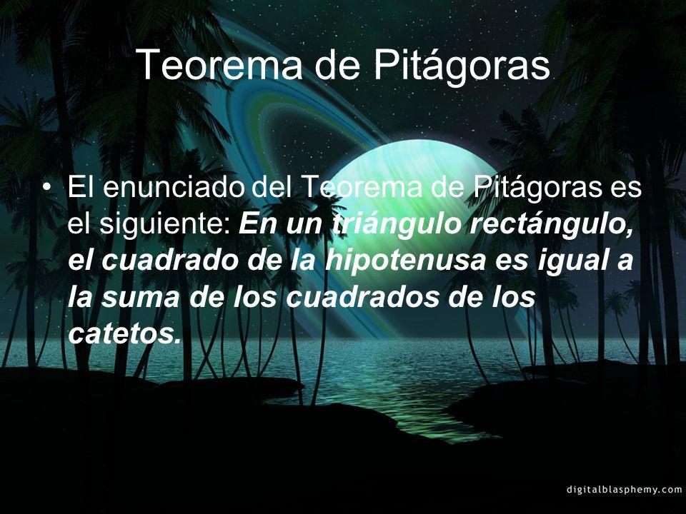 Teorema de Pitágoras El enunciado del Teorema de Pitágoras es el siguiente: En un triángulo rectángulo, el cuadrado de la hipotenusa es igual a la sum
