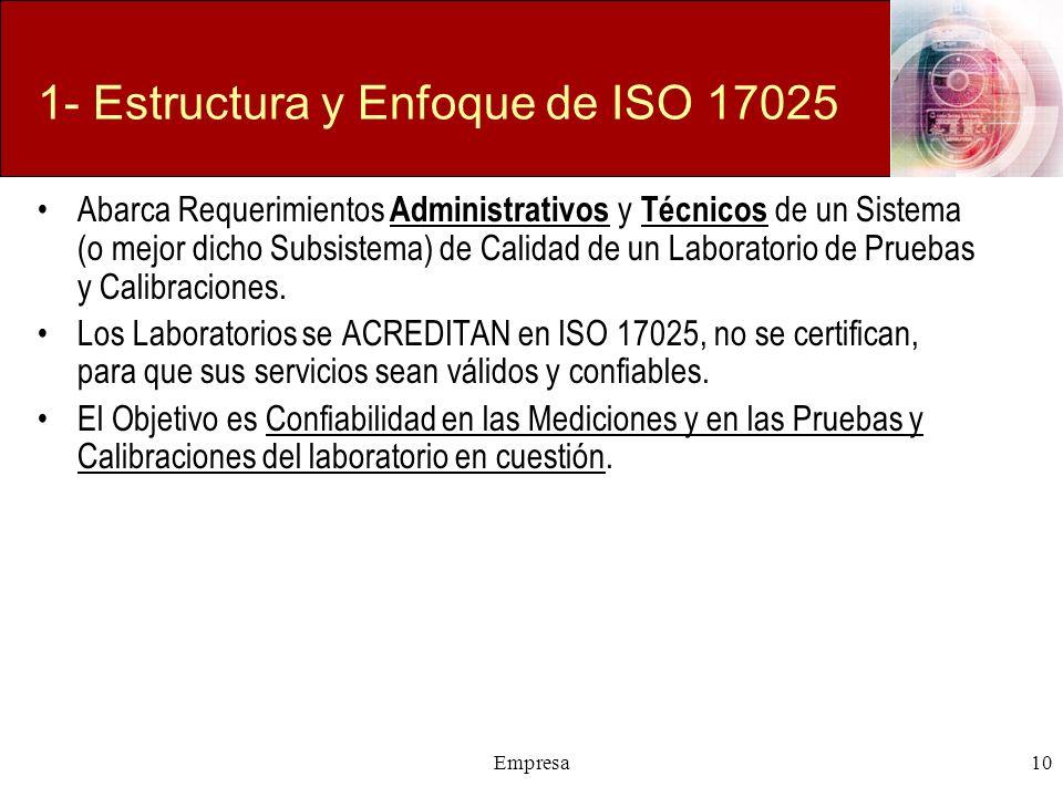 Empresa10 1- Estructura y Enfoque de ISO 17025 Abarca Requerimientos Administrativos y Técnicos de un Sistema (o mejor dicho Subsistema) de Calidad de