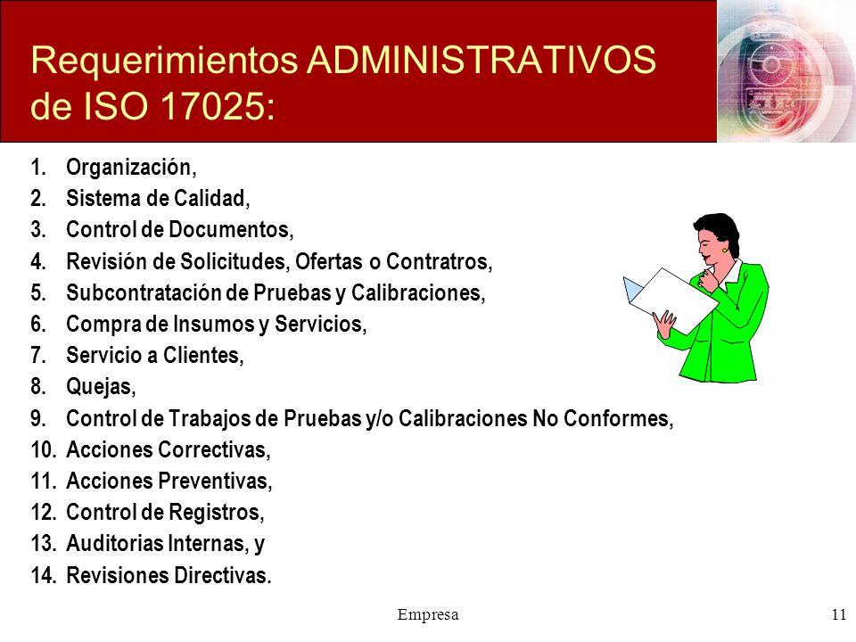 Empresa11 Requerimientos ADMINISTRATIVOS de ISO 17025: 1.Organización, 2.Sistema de Calidad, 3.Control de Documentos, 4.Revisión de Solicitudes, Ofert