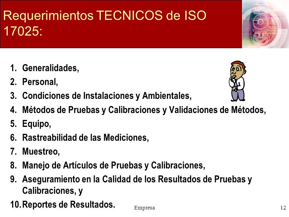 Empresa12 Requerimientos TECNICOS de ISO 17025: 1.Generalidades, 2.Personal, 3.Condiciones de Instalaciones y Ambientales, 4.Métodos de Pruebas y Cali