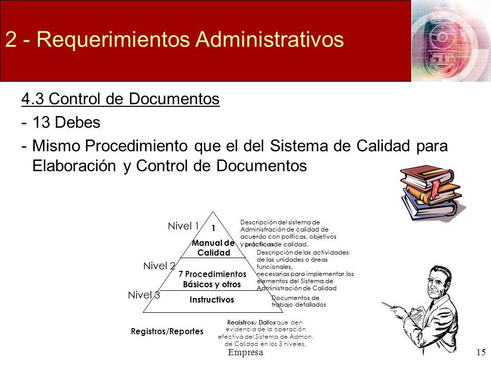 Empresa15 2 - Requerimientos Administrativos 4.3 Control de Documentos -13 Debes -Mismo Procedimiento que el del Sistema de Calidad para Elaboración y
