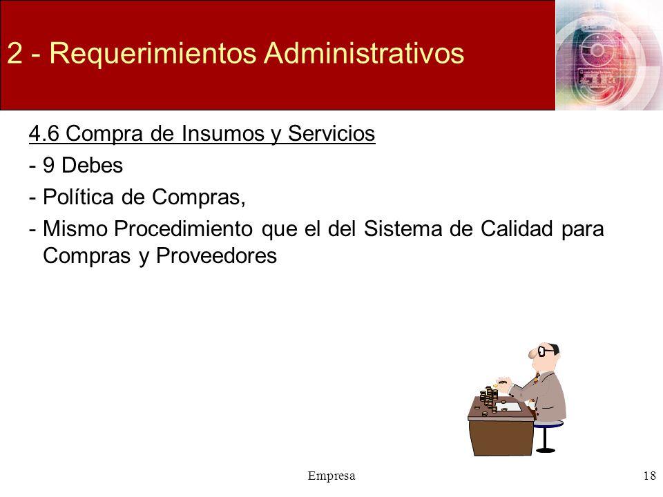 Empresa18 2 - Requerimientos Administrativos 4.6 Compra de Insumos y Servicios -9 Debes -Política de Compras, -Mismo Procedimiento que el del Sistema
