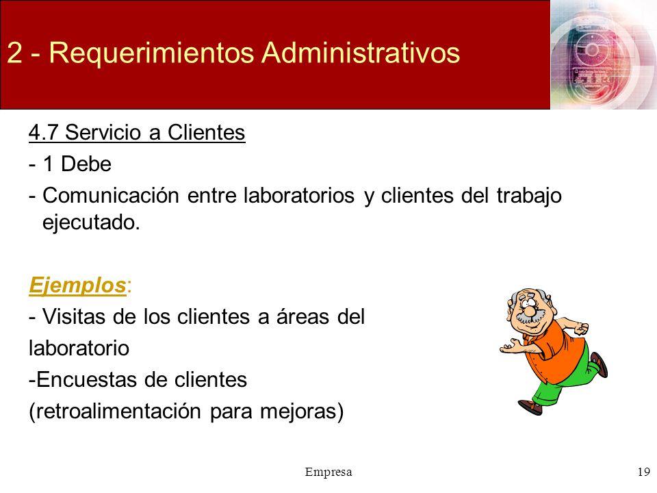 Empresa19 2 - Requerimientos Administrativos 4.7 Servicio a Clientes -1 Debe -Comunicación entre laboratorios y clientes del trabajo ejecutado. Ejempl