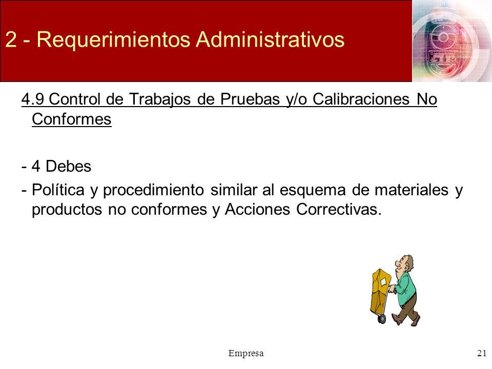 Empresa21 2 - Requerimientos Administrativos 4.9 Control de Trabajos de Pruebas y/o Calibraciones No Conformes -4 Debes -Política y procedimiento simi