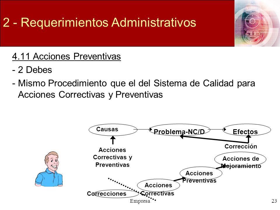 Empresa23 2 - Requerimientos Administrativos 4.11 Acciones Preventivas -2 Debes -Mismo Procedimiento que el del Sistema de Calidad para Acciones Corre