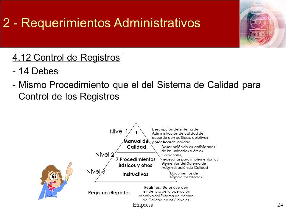 Empresa24 2 - Requerimientos Administrativos 4.12 Control de Registros -14 Debes -Mismo Procedimiento que el del Sistema de Calidad para Control de lo