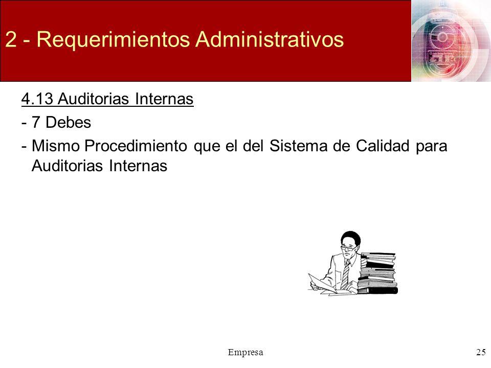 Empresa25 2 - Requerimientos Administrativos 4.13 Auditorias Internas -7 Debes -Mismo Procedimiento que el del Sistema de Calidad para Auditorias Inte