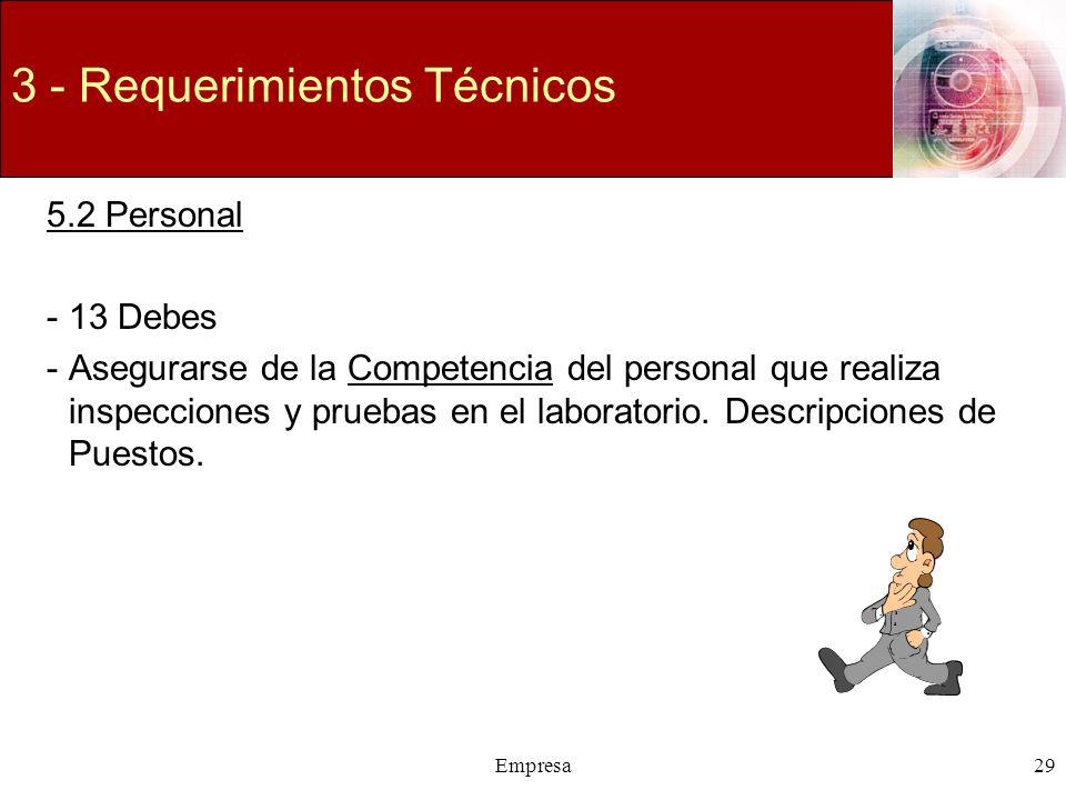 Empresa29 3 - Requerimientos Técnicos 5.2 Personal -13 Debes -Asegurarse de la Competencia del personal que realiza inspecciones y pruebas en el labor