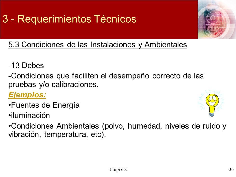 Empresa30 3 - Requerimientos Técnicos 5.3 Condiciones de las Instalaciones y Ambientales -13 Debes -Condiciones que faciliten el desempeño correcto de