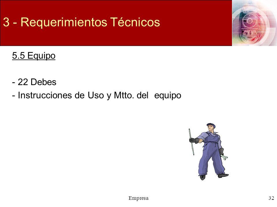 Empresa32 3 - Requerimientos Técnicos 5.5 Equipo -22 Debes -Instrucciones de Uso y Mtto. del equipo