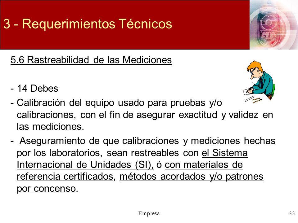 Empresa33 3 - Requerimientos Técnicos 5.6 Rastreabilidad de las Mediciones -14 Debes -Calibración del equipo usado para pruebas y/o calibraciones, con