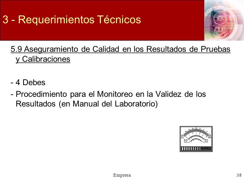 Empresa38 3 - Requerimientos Técnicos 5.9 Aseguramiento de Calidad en los Resultados de Pruebas y Calibraciones -4 Debes -Procedimiento para el Monito