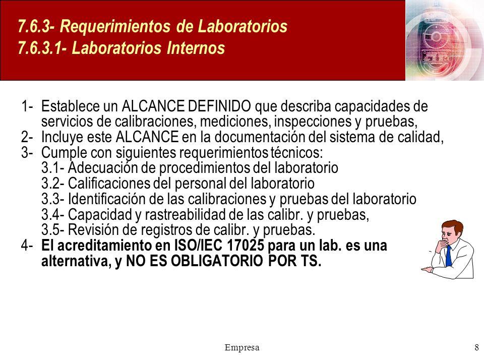 Empresa8 7.6.3- Requerimientos de Laboratorios 7.6.3.1- Laboratorios Internos 1- Establece un ALCANCE DEFINIDO que describa capacidades de servicios d